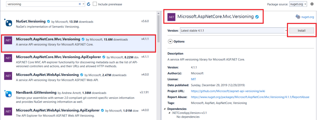 Web API Versioning in ASP.NET Core 3