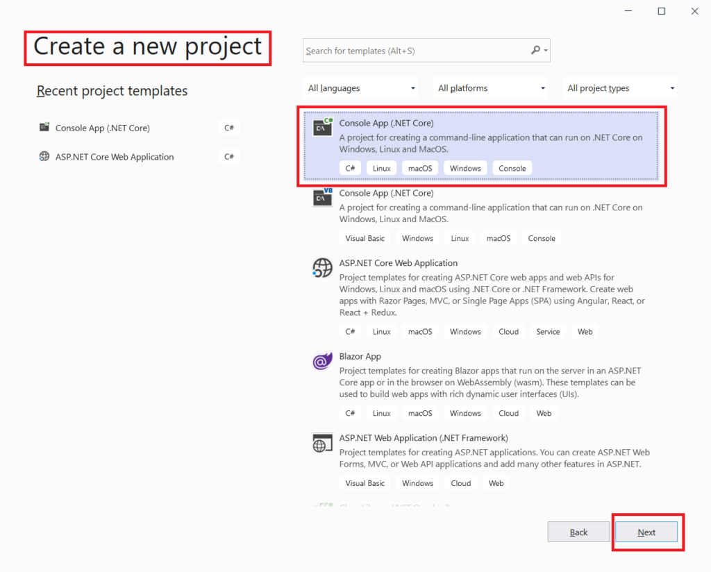 Create new visual studio project